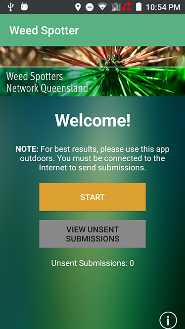 Image of Weed Spotter App front welcome screen.