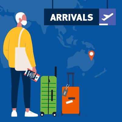 An illustration of a person with luggage and a ticket waiting at an airport arrivals gate.