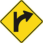 yellow diamond-shaped sign with black arrow that curves steadily right with a line continuing upward