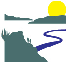 white, green, blue and yellow icon representing highlands