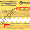 Sample handwritten infringement notice notice showing the infringement number