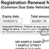 Sample vehicle registration renewal notice for vehicles with common due dates showing the customer reference number