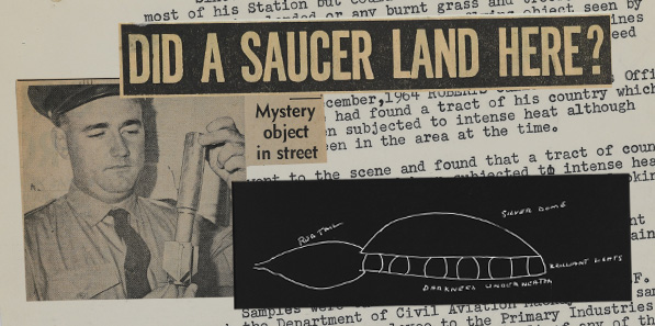 """Newspaper with title """"Did a saucer land here?"""""""
