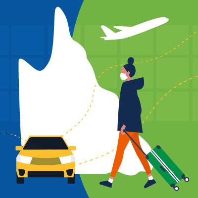 An illustration of a map of queensland superimposed with a person with luggage, a car and a plane.