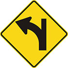 yellow diamond-shaped sign with black arrow that curves steadily left with a line continuing upward