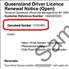 Sample driver licence renewal notice showing the authorisation code