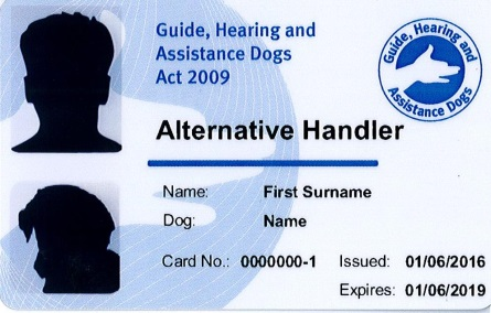 An example of the front of an Alternative Handler Identity Card