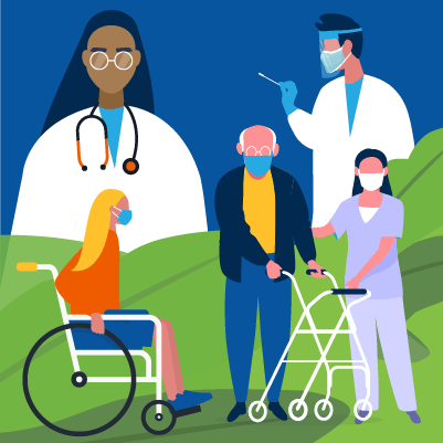 An illustration depicting healthcare workers, and aged care workers and residents