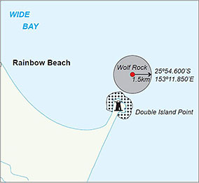 Map showing the Wolf Rock grey nurse shark designated area, near Double Island Point, extends 1.5km around a central point.