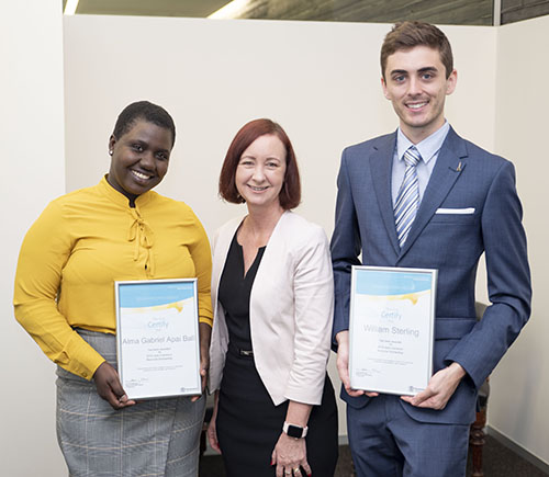 2 of the 2019 scholarship recipients with Attorney-General Yvette D'Ath.