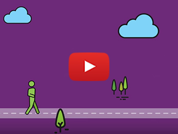 Cartoon graphic of a person walking down the street. There is a YouTube play button in the middle of the image to show that it is a video