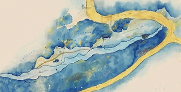 chromatic watercolour hand painted map of a waterway and dirt tracks