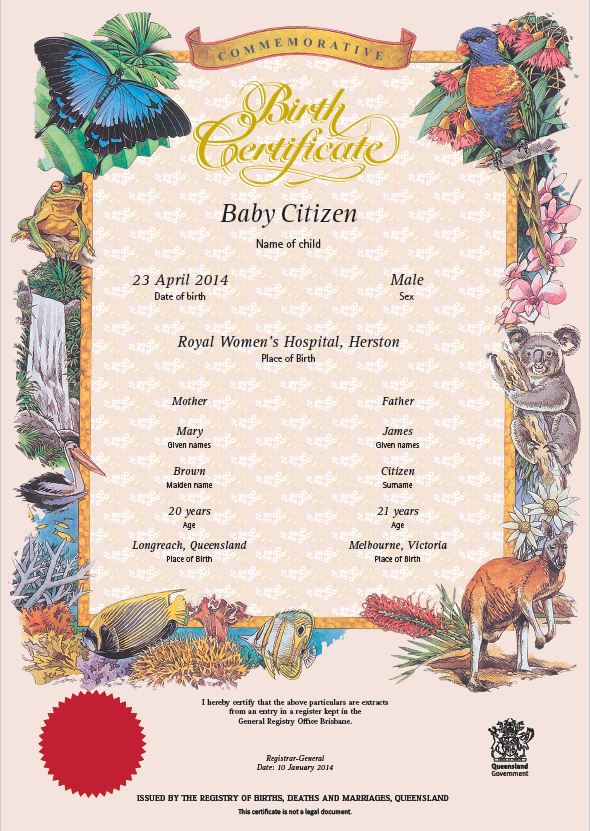 Buy a Queensland commemorative birth certificate | Your ...