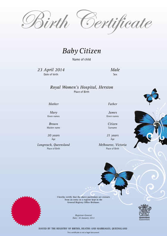 Apply for date of birth certificate online in Brisbane