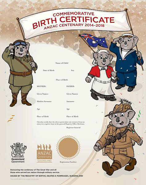 Buy a queensland commemorative birth certificate your rights anzac yadclub Choice Image