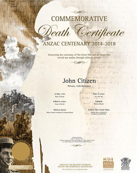 Buy a queensland commemorative death certificate your rights buy a queensland commemorative death certificate yadclub Choice Image