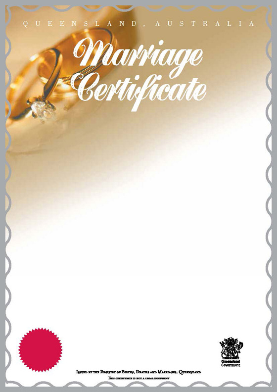 Queensland Commemorative Marriage Certificates | Your Rights