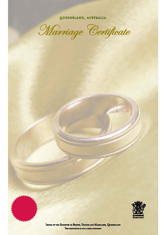 Buy A Queensland Commemorative Marriage Certificate  Your Rights
