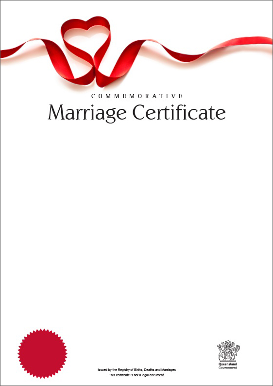 Queensland Commemorative Marriage Certificates  Your Rights Crime